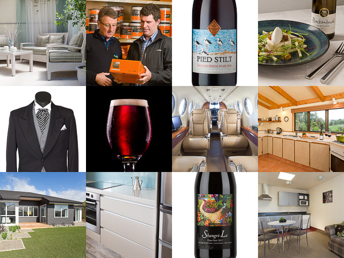 Commercial photography examples from Nelson, NZ including wine bottles and real estate interiors