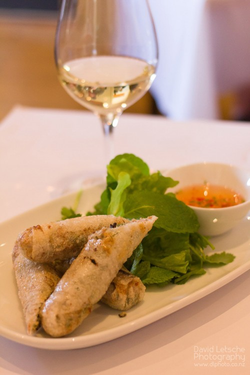 Hanoi spring rolls with salad of fresh herbs and classic Vietnamese dipping sauce