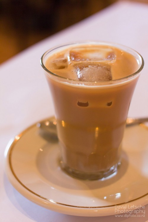 Vietnamese coffee - a double expresso with condensed milk and ice