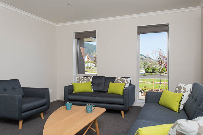 Residential living area photograph in a Nelson showhome