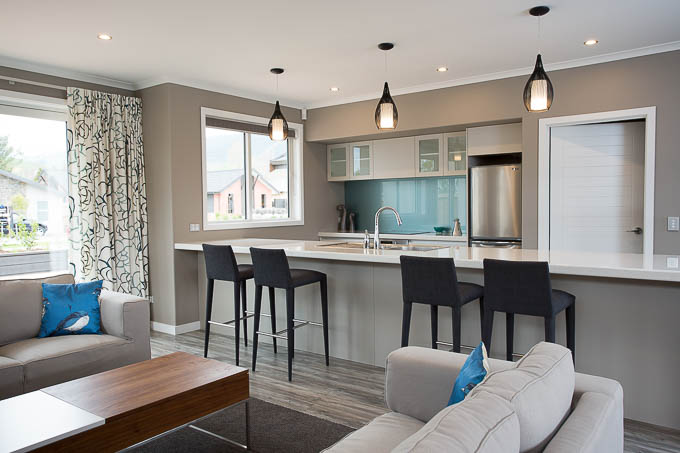 Photographing an open plan kitchen and lounge at a Nelson showhome