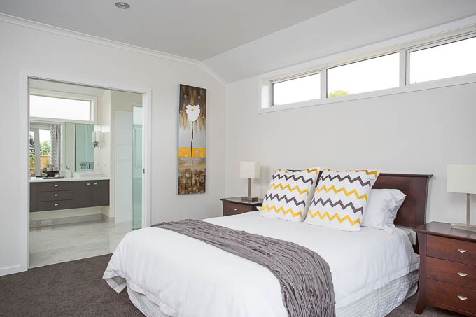 A master bedroom photographed for an advertising supplement