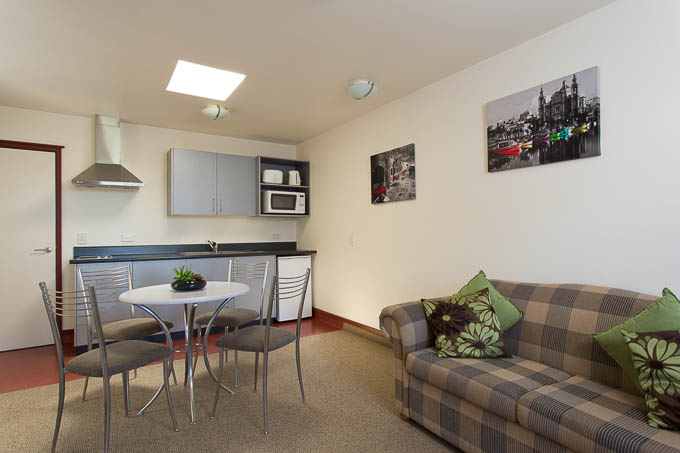 Professional photo showing a modern Nelson motel room
