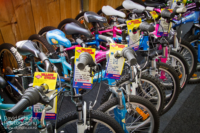 A range of children's bikes.