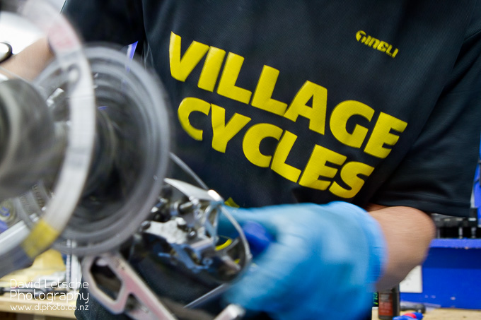 A bike being serviced at Village Cycles in Richmond.